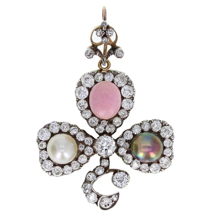 Antique Natural Saltwater and Conch Pearl Diamond Silver Gold Pendant Brooch For Sale