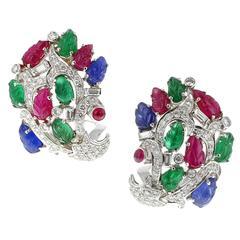 Cartier Paris Magnificent Tutti Frutti Diamond Gold Earrings