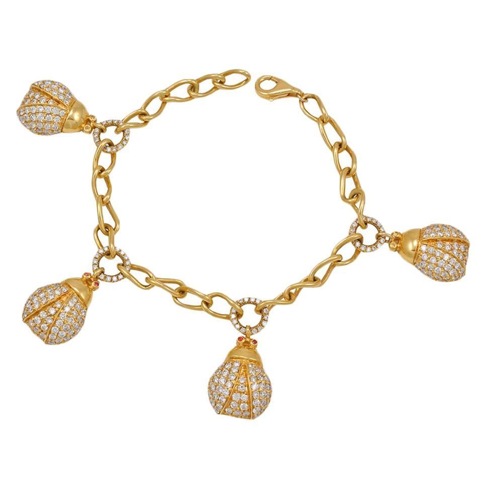 2ec85c67cb0ac DoDo Pavé Diamond Gold Panda Charm Bracelet