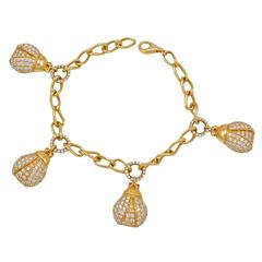 Diamond Gold Lady Bug Charm Bracelet