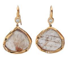 Mimi So Sapphire Slice Diamond Gold Pendant Earrings