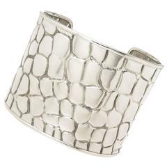 Tiffany & Co. Silver Crocodile Textured Wide Cuff Bracelet