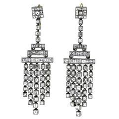 Antique Carre Cut Diamond Platinum Earrings