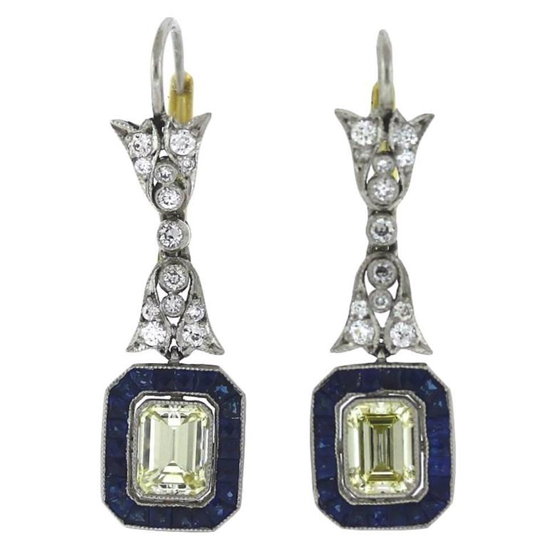 Sapphire Diamond Platinum Drop Earrings