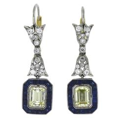 Sapphire Diamond Platinum Drop Earrings