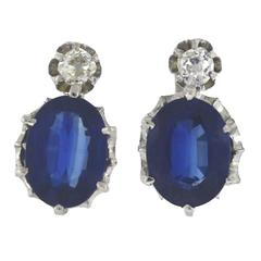 Fine Sapphire Diamond Gold Earrings