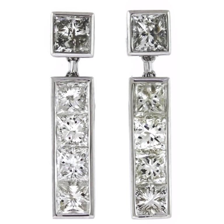 4.25 Carats Channel Set Princess Cut Diamonds Gold Earrings  1