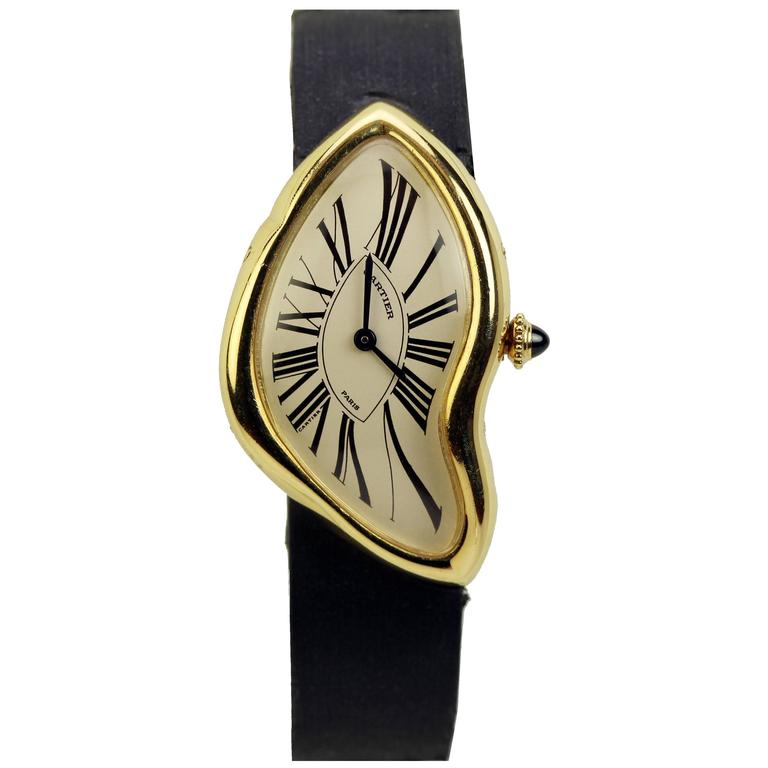 Cartier Yellow Gold Limited Edition Crash Wristwatch  For Sale