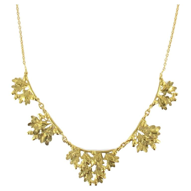 French Oak Leaves Gold Drapery Necklace