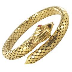 Gold Snake Bangle Bracelet