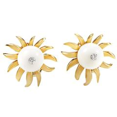 Tiffany & Co. Schlumberger White Onyx Diamond Gold Earrings
