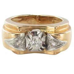 1950s French Diamond Two Color Gold Tank Ring