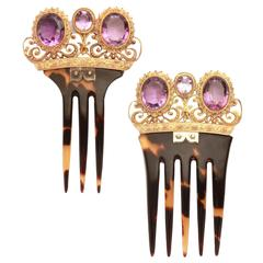 Victorian Amethyst Gold Tortoise Hair Combs