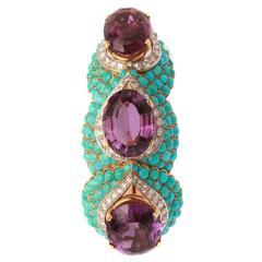 Sublime French Retro Amethyst Turquoise Diamond Gold Bracelet