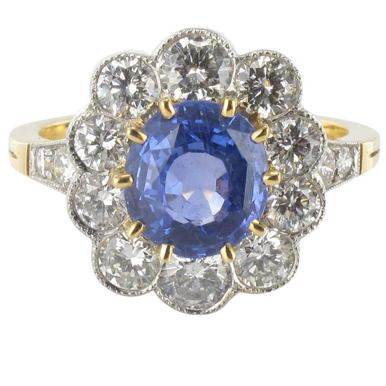 Blue Sapphire Diamond Gold Platinum Ring
