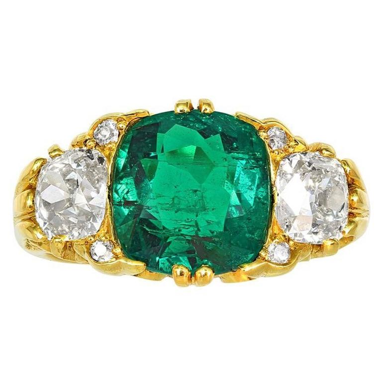 Victorian Colombian Emerald Diamond gold Three Stone Ring For Sale