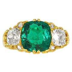 Victorian Colombian Emerald Diamond gold Three Stone Ring