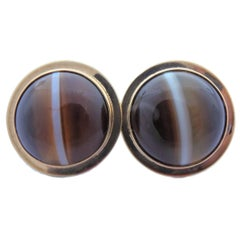 Antique Banded Agate Gold Earrings