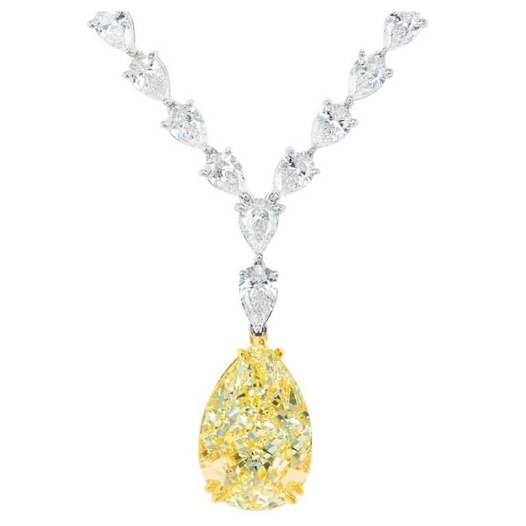 15.98 Carat Natural Yellow Pear Shape Diamond Two Color Gold Necklace For Sale