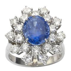 Sapphire Diamond Gold Cluster Ring