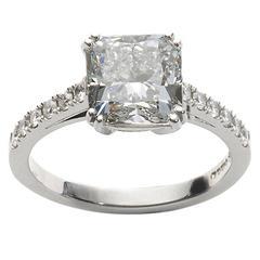 3.03 Carat GIA Cert Cushion Cut Diamond Platinum Ring