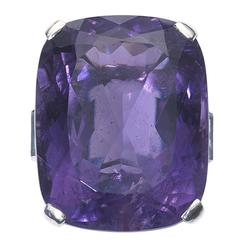 1950s Aquamarine Amethyst Gold Ring
