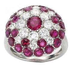 Ruby Diamond Platinum Cluster Ring