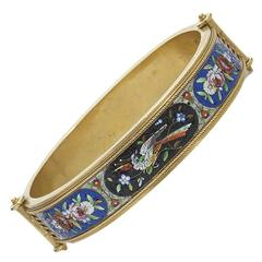 Micro Mosaic Gold Bangle Bracelet