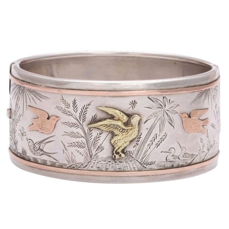 Spring Awakening:  A Victorian Cuff Bracelet For Sale