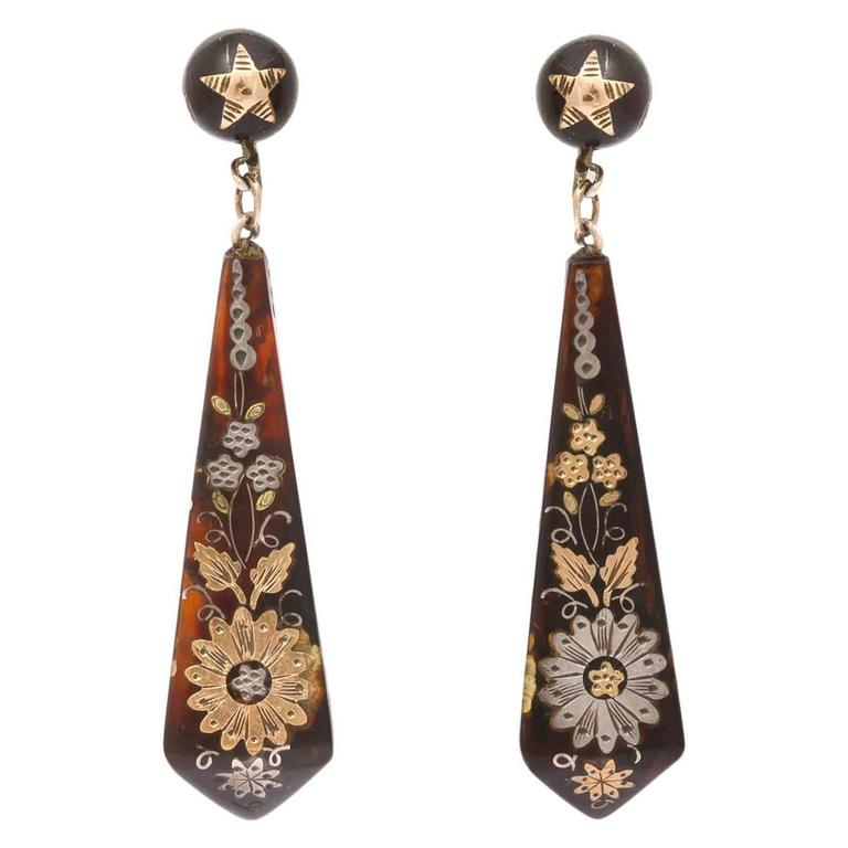 Victorian Pique Earrings Incised with Gold and Silver For Sale