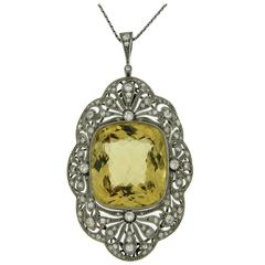 Early Victorian Heliodor Diamond Gold Pendant