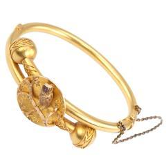 Victorian Gold Owl Bangle Bracelet