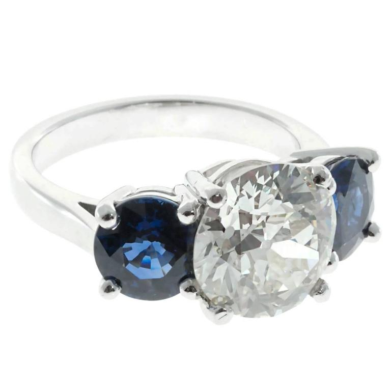 Peter Suchy Sapphire Diamond Platinum Three Stone Engagement Ring