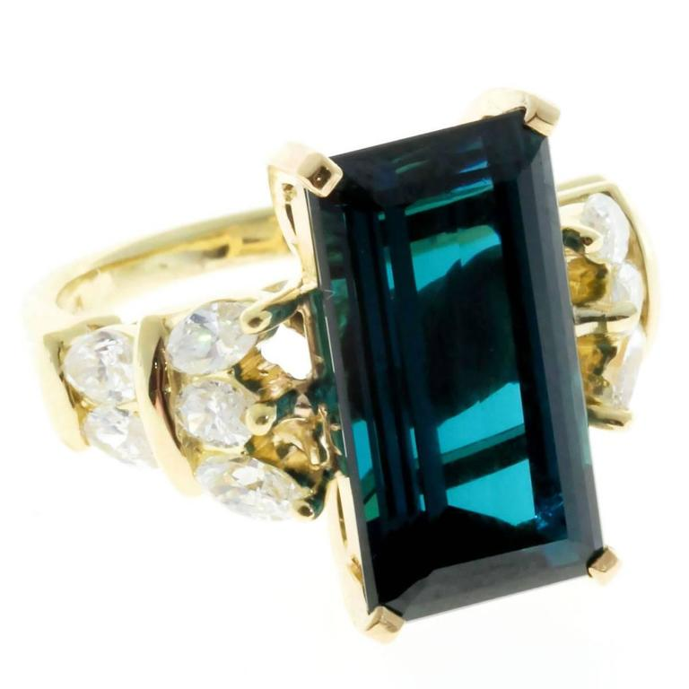 1960s Blue Indicolite Tourmaline Marquise Diamond Gold Ring