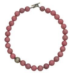 Yossi Harari Rhodonite Bead Diamond Necklace
