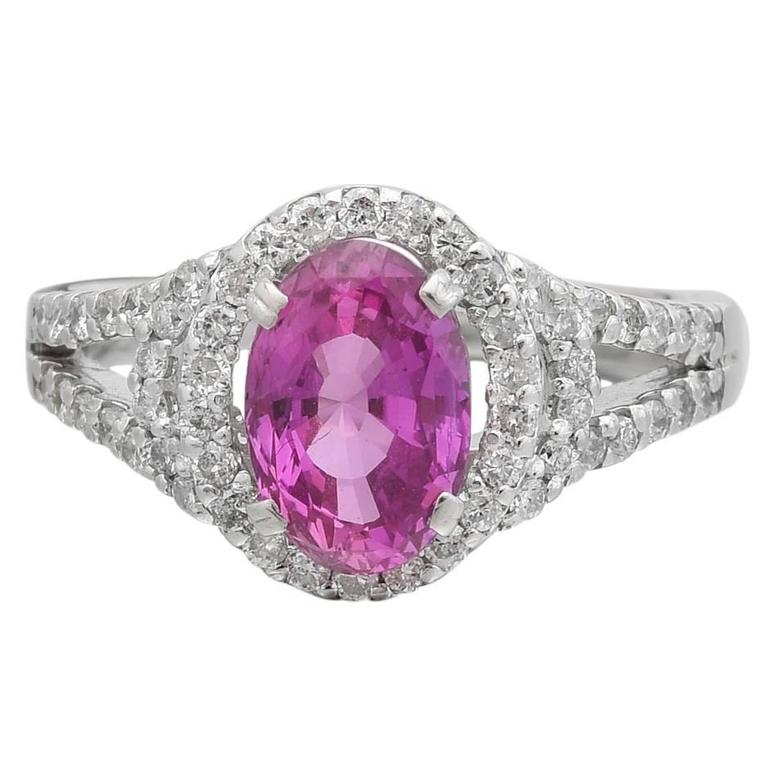Pink Sapphire Diamond Platinum Dress Ring