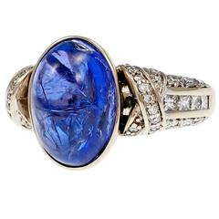 Oval Cabochon Tanzanite Diamond Gold Engagement Ring