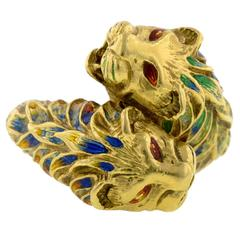 Enamel Gold Double Lion Crossover Ring