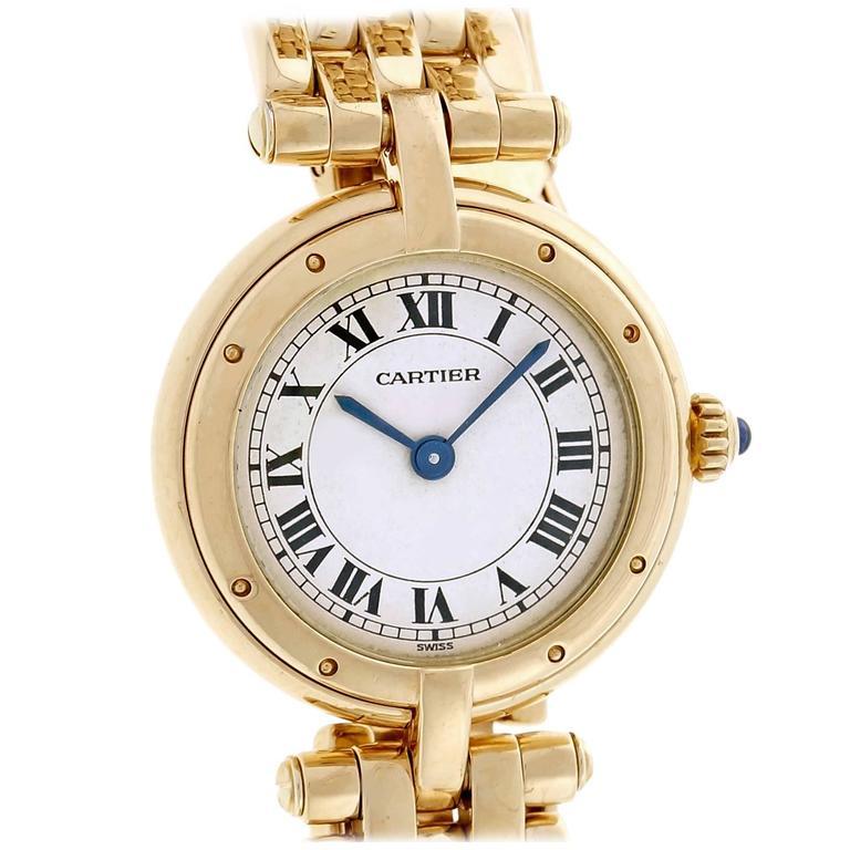 Cartier Ladies Yellow Gold Round Panther Quartz Wristwatch