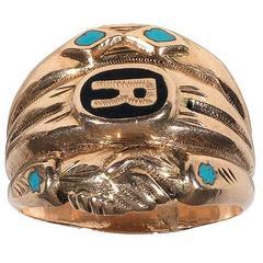 Antique enamel gold gimmel/fede ring