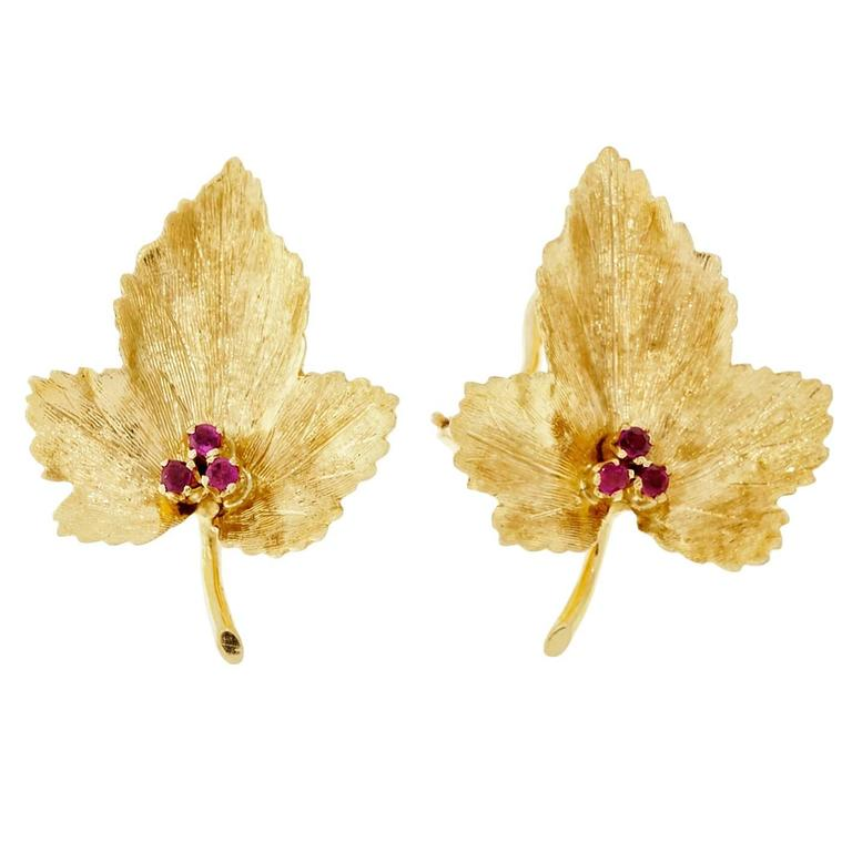 Tiffany & Co. Ruby Leaf Gold Earrings  For Sale