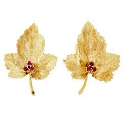 Tiffany & Co. Ruby Leaf Gold Earrings