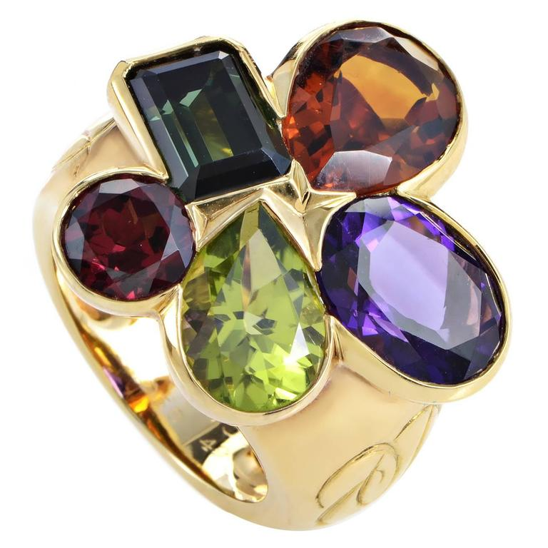 Dior Multi-Gemstone Gold Cluster Ring