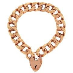 English Gold Heart Catch Link Bracelet