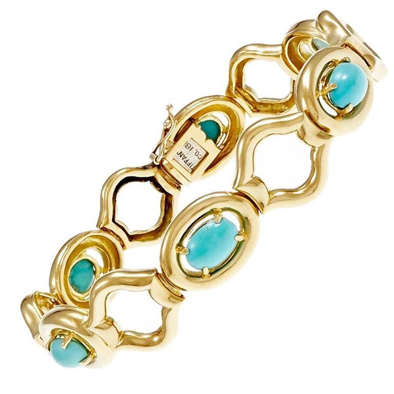 1960 Tiffany & Co. GIA Cert Natural Turquoise Gold Link Bracelet