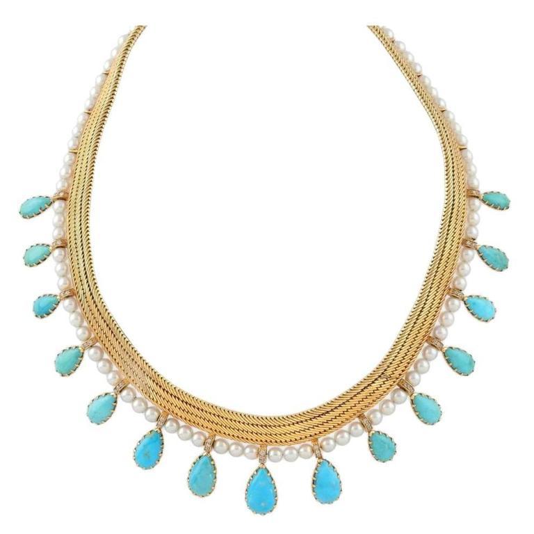 1950s Certified by FrançOise Cailles René Boivin Paris Turquoise Gold Necklace