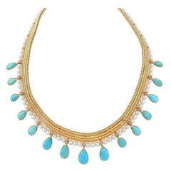 1950s Certified by FrançOise Cailles René Boivin Paris Turquoise Gold Necklace