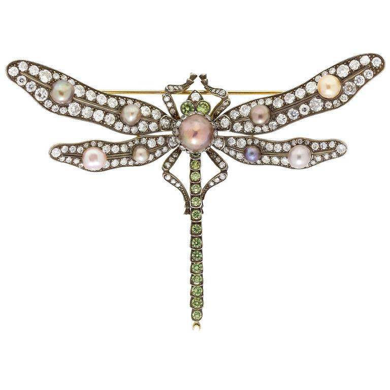 Natural Pearl Diamond Gold Dragonfly Pin