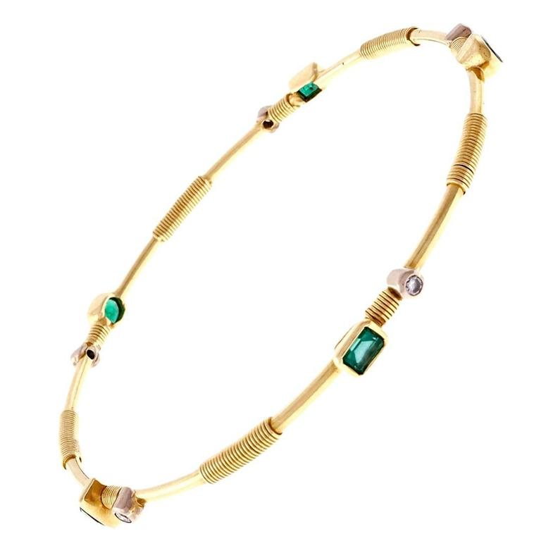 Emerald Diamond Gold Bangle Bracelet