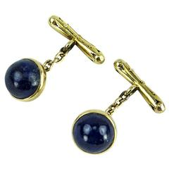 Antique Edwardian Pair Lapis Lazuli Gold Cufflinks Estate vcFine Jewelry